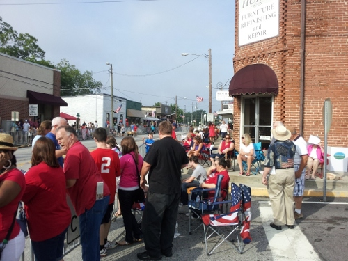 Citizens lined Main Street